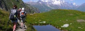 Dans la combe de La Neuva et le Mont Blanc