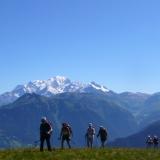 Sous le Mont Mirantin avec le Mont Blanc au loin